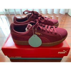 PUMA Vikky Red Suede Platform Sneakers